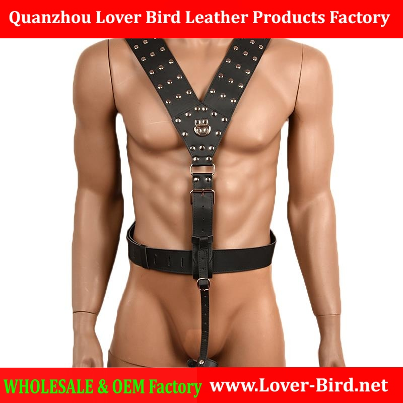 Black PU Leather Sex Fetish Bondage Restraint Male Harness with Cock Ring Adjustable Sexy Men Harness Erotic Toys Sex Products