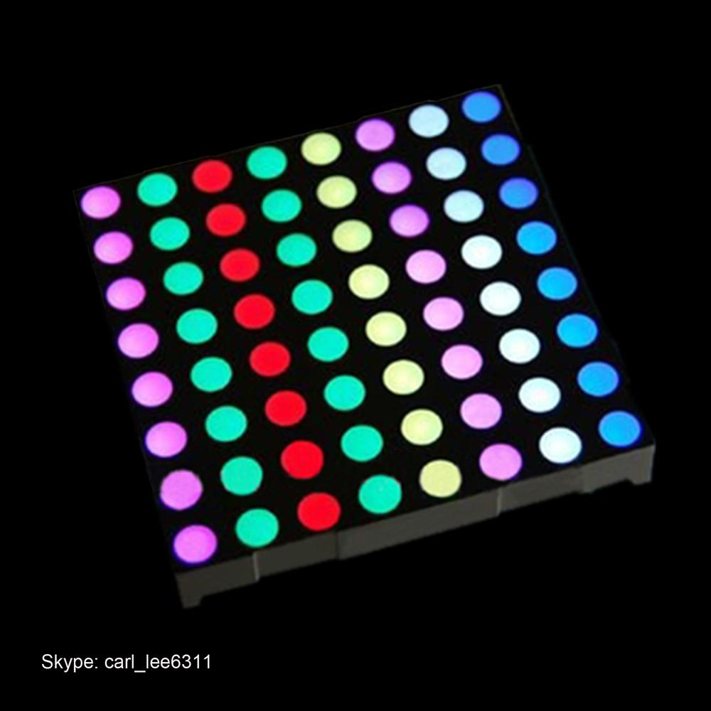 Full color 60.2x60.2mm 5mm 8x8 round dot matrix led display rgb