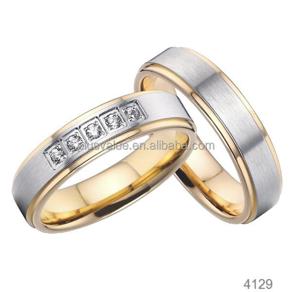 Factory Wholesale gold plated fashion jewelry palladium wedding rings