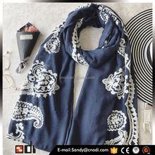 Manufacture Wholesale newest embroidery Long Muslim head scarf hijab shawl