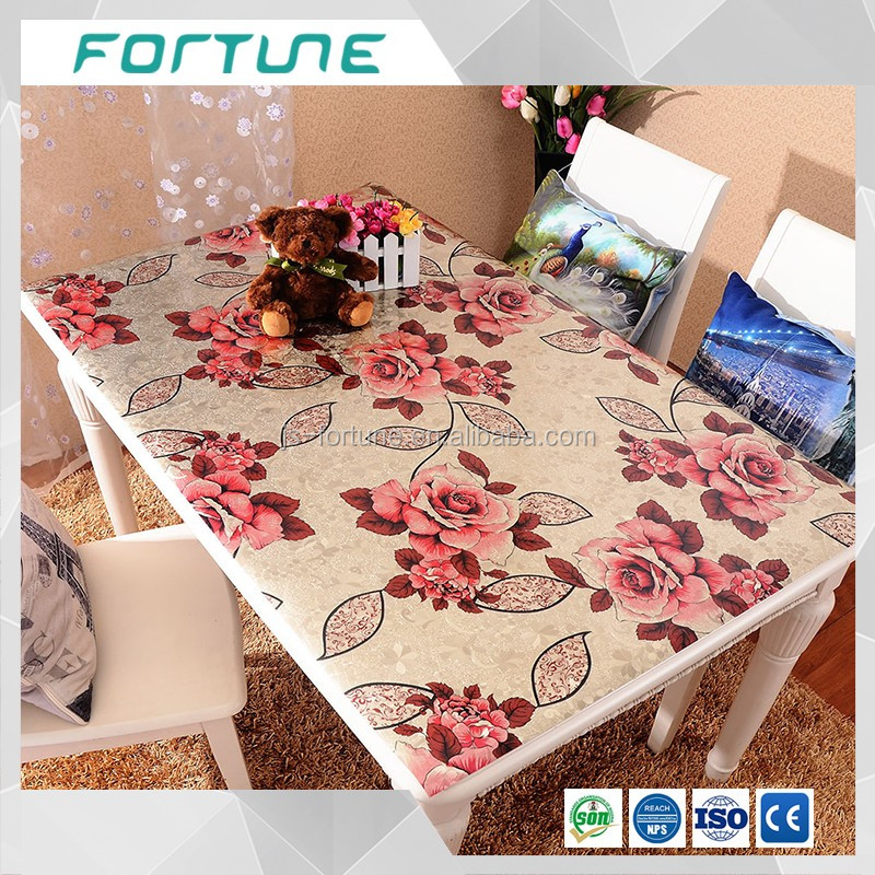 popular kitchen decorative plastic film soft glass table overlay