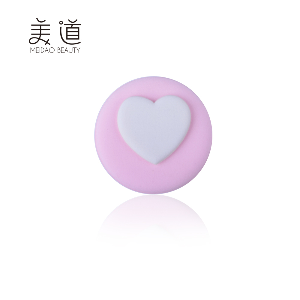 Meidao Creative Fashion Girls Soft Rubycell Pink Heart Refillable Powder Puff
