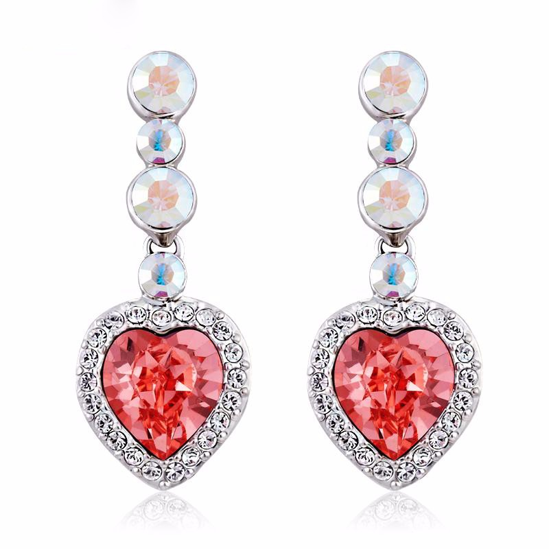 Lady Wedding Clear AAA Zirocn Diamond Big Heavy Bridal Heart Shape Crystal Diamond earrings