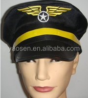 Deluxe black Airline Pilot Hat with embroidery wings logo