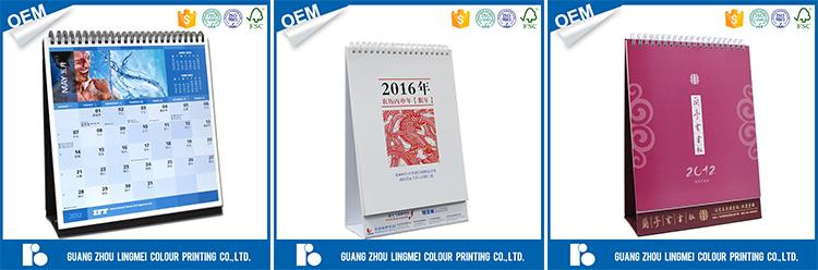 Car advertising new design calendar printing wire-o binding printing foldable desk calendar with shrink wrap as gift calendar