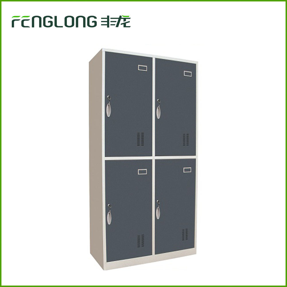 on sales customized size color four door metal storage cabinet 4 tie steel locker