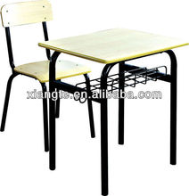 Powerful!!! durable wooden steel conjoint single seat student desk chair unit from professional manufacturer in Guangzhou