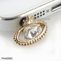 Alloy Crystal Charm Mobile Phone Dust Plug