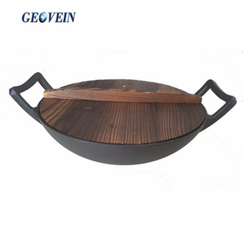 Alibaba express cast iron foundry China kitchenware products two handle wok