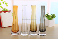 Cheap wholesale long stem colored clear glass vase tall glass stemmed vase