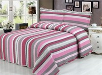 Simple striped printed cotton patchwork quilted bedding set
