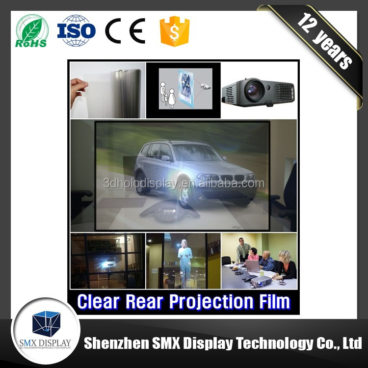Wholesale amazing glass window advertising adhesive holographic transparent rear projection film