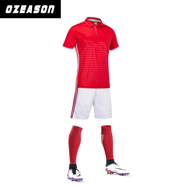 High Quality Sublimation Printing Red White Soccer Jersey