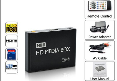 1080P Full HD Mini Media Player hdd box with Autoplay function MKV/RM-SD/USB/SDHC/MMC games of portable media player