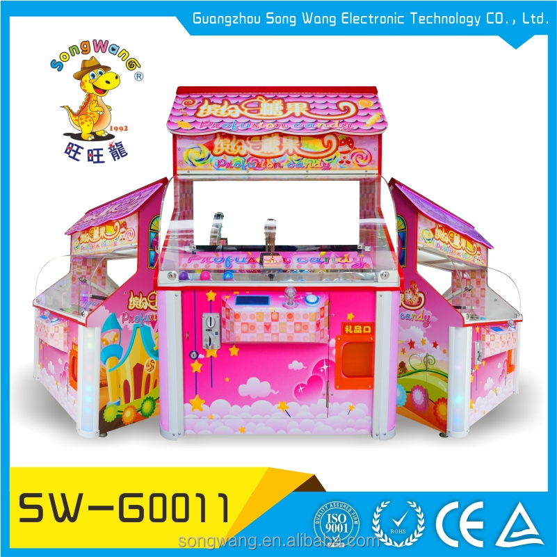 coin operated wood cabinet colorful mini capsule candy grabber machine