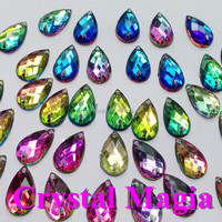 teardrop flat back iridescent color sew on acrylic rhinestone