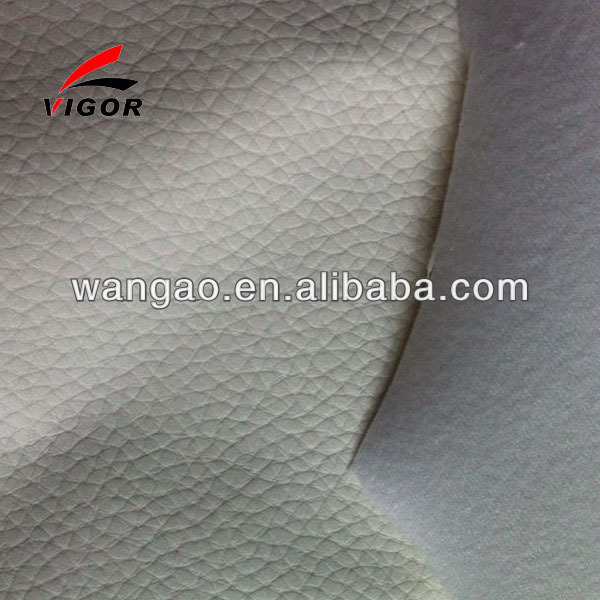 White color pvc sofa embossed leather lichee pattern design