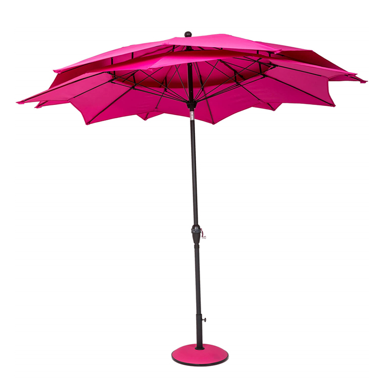 Waterproof fabric wooden patio parasol for outdoor use wood umbrella