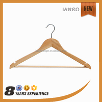 Y1502-2 Chrome Hook Wood Clothes Hangers Wholesale With Locking Bar