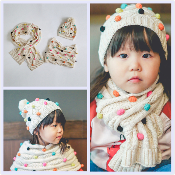 Fashion design multicolor small ball winter warm white knitted scarf and hat sets for baby girl wholesale custom hat with pompom