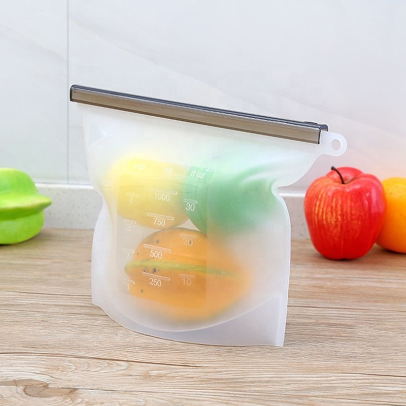 Customlogo Food Grade 1000ml Fresh Preservation Ziplock Washable Reusable Silicone Food Storage Bag with Zipper Seal <strong>A001</strong>
