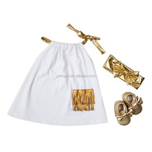 Wholesale kids clothes girls dress pillow case sets gold headband and shoes baby frock design pictures