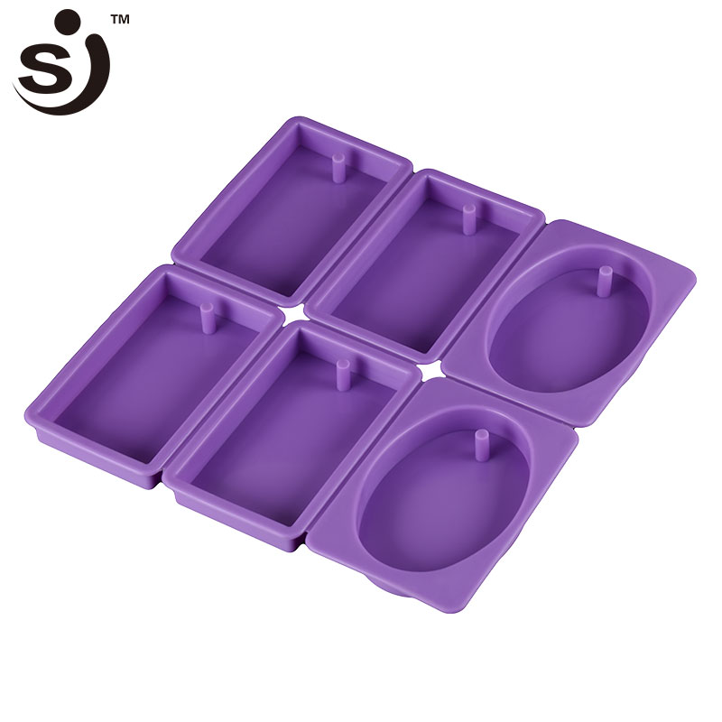 6 Cavity Custom Handmade Rectangle&Oval Silicone Soap Mould,Handmade Used Soap Mold
