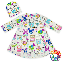 Adorable Animals Print Baby Dress Long Sleeve Frocks With Two Pockets Stylish New Born Baby Dress