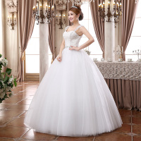 ZH1756D New arrival strapless ball gown white beaded wedding dress for lady