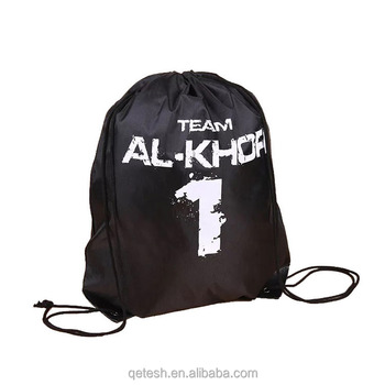 High Quality Polyester Waterproof Fabric Soccer Drawstring Backpack Bag