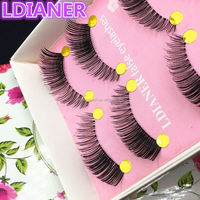5 Pairs Natural Long Cross False Eyelashes Fake Eye Lashes Hand Made Makeup Eye Lashes