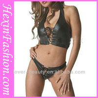 Black Leather Adult Sexy Gothic Lingerie