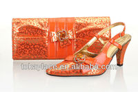2013 new arrival Italian orange shoes and bags to match woman for evening wedding/party dress