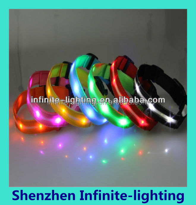 100% Nylon Webbing Safety LED Light Dog Collars Glowing in Dark/led dog collar wholesale made in china