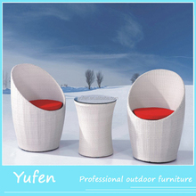 Rattan bullet outdoor furniture of modern Round White Outdoor Rattan Garden Table & Chair