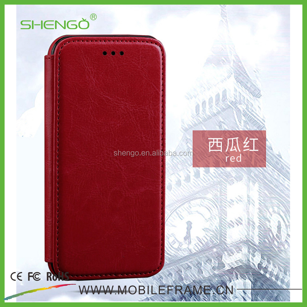 Shengo 2016 Wholesale Premium Leather Mobile Phone Flip Cover Case ,Leather Flip Case For iPhone 7 7plus Leather case