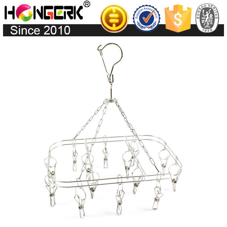 Stainless steel hanging drying clothes rack with pegs