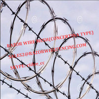 RAZOR WIRE FENCING(CONCERTINA COIL TYPE) WITH BARBED WIRE ON TOP OF WALL