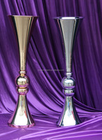French Gold 29 inches Polished Metal Reversible Vases