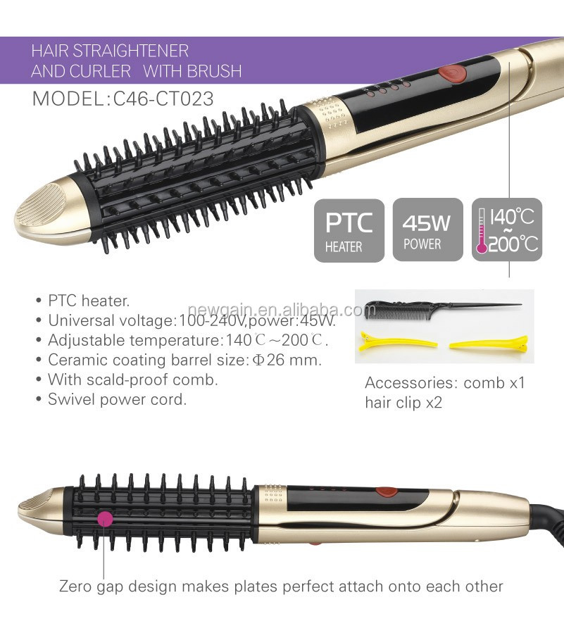2 in 1 multi-function Hair Curler and Straightener hot comb brush