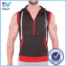 Yihao New Design Custom Mens Half Zipper Pullover Sleeveless Hoodie Stringer with Hood Hoodies
