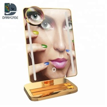 New products 2019 innovative product Lady plate color LED makeup mirror with wireless speaker MP3 player mp4 player magnifying
