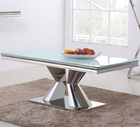 stainless steel Home coffee / tea table tempered glass top / home/hotel/restaurant /bar/leisure