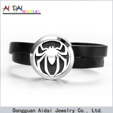 custom made mens leather bracelet floating locket bracelet,Stainless Steel Spiderman Bracelet
