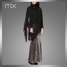 wholesale fashional elegant black asymmetric long sleeves abaya muslim evening maxi dress