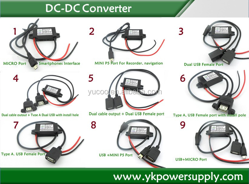 YUCOO Car Auto Power Inverter 48vdc to 24vdc dc to dc converter
