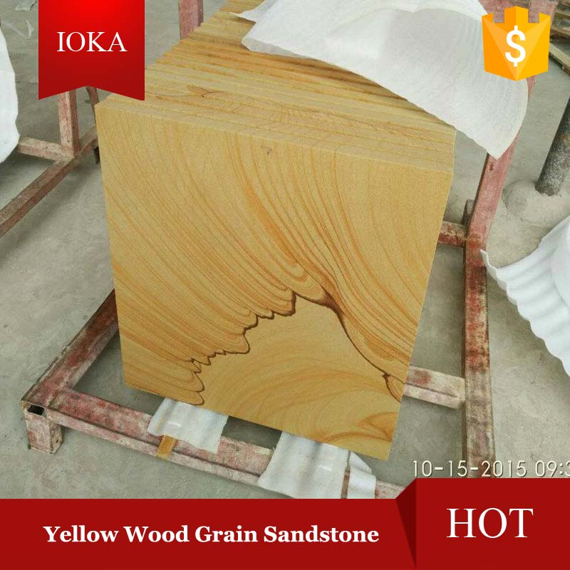 Yellow Wooden Vein Sandstone Tiles Slabs