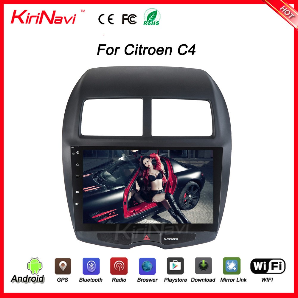 "KiriNavi wholesales WC-MA1020 10.2"" andriod 6.0 car radio dvd for citroen c4 car dvd player with gps navigation and blue"
