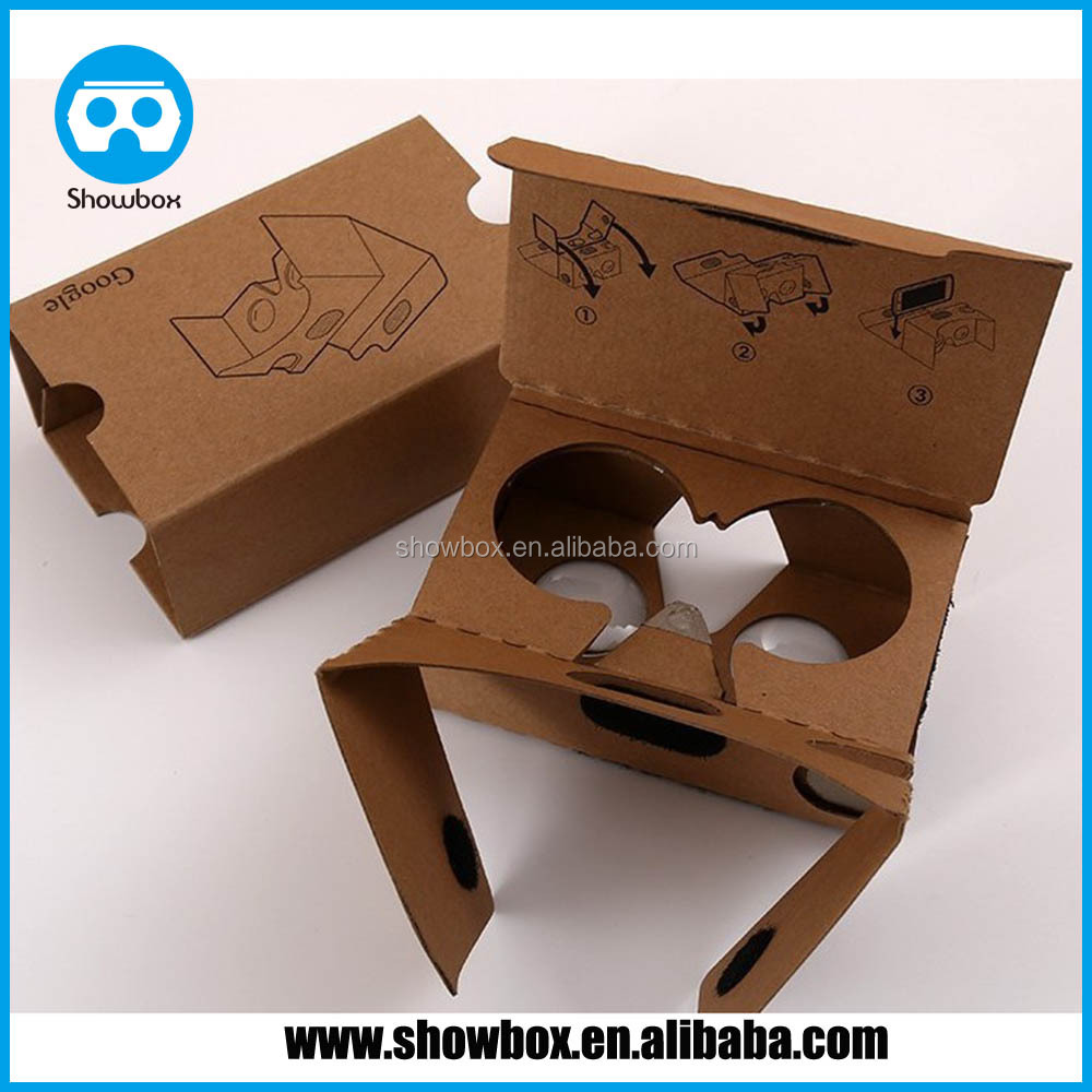 Google cardboard virtual reality 3d glasses custom printing fit 3.5 ~6 Inch smart phone and short-sighted people.