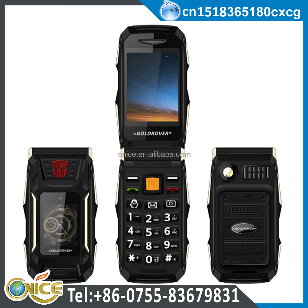 A1 flip phone FM radio powerful torch cell phone with 4800mah power bank long standby time